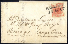 Cover 1850, 15 Cent. Rosso Vermiglio II° Tipo (carta A Mano) Con Piega Naturale Di Carta Su Lettera Da Venezia 10.Giu.,  - Lombardije-Venetië