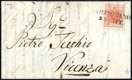 Cover 1850, 15 Cent. Rosso Vermiglio II° Tipo (carta A Mano) Su Lettera Da Arzignano 29.Ott., Piccolo Difetto Di Clichè, - Lombardije-Venetië
