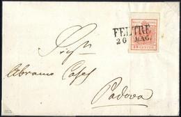 Cover 1850, 15 Cent. Rosso Vermiglio II° Tipo (carta A Mano) Su Lettera Da Feltre 26.MAG, ANK 3X, Sass. 4 / 1000,- - Lombardije-Venetië