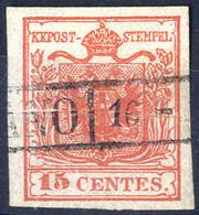 """O 1854, """"Pieghe Di Carta"""", 15 Cent. Rosso Vermiglio, Usato (Sass. 4) - Lombardije-Venetië"""