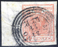 """O 1850, """"Pieghe Di Carta"""", 15 Cent. Rosa, Esemplare Con Largo Bordo Di Foglio E Filigrana, Firm. E. Diena (Sass. 5) - Lombardije-Venetië"""