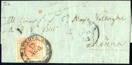 Cover 1850, 15 Cent. Rosa, II° Tipo Con Due Pieghe Naturali Di Carta, Lettera Da Mantova A Modena, Sass. 5 - Lombardije-Venetië