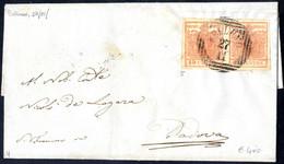 Cover 1850, 15 Cent. Rosa, Secondo Tipo, Coppia Su Lettera Da Belluno (Sass. 5 - ANK 3HII) - Lombardije-Venetië