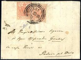 Cover 1850, 15 Cent. Rosa, Secondo Tipo, Due Esemplari Su Lettera Da Peschiera, Firm. Sorani (Sass. 5 - ANK 3HII) - Lombardije-Venetië