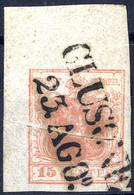 """O 1854, """"Pieghe Di Carta"""", 15 Cent. Rosa Carminio, Secondo Tipo, Largo Angolo Di Foglio Con Vistosa Piega Obliqua Di Arr - Lombardije-Venetië"""