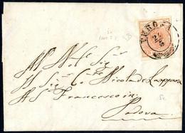 """Cover 1854, """"Pieghe Di Carta"""", 15 Cent. Rosa, Duplice Piega Diagonale Da Arricciamento, Su Lettera Da Verona 24.5.1852 P - Lombardije-Venetië"""