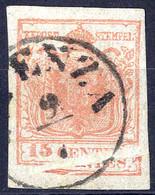 """O 1854, """"Pieghe Di Carta"""", 15 Cent. Rosa, Vistosa Piega Con Deformazione Del Clichè, Cert. Sottoriva (Sass. 5) - Lombardije-Venetië"""