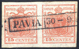 Piece 1850, 15 Cent. Rosa Carmino (carta A Mano), Coppia Annullata PAVIA 30-9, Cert. Goller, ANK 3X, / Sass. 5 - Lombardije-Venetië