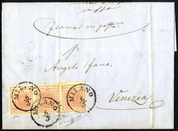 Cover 1850, 15 Cent. Rosa, Secondo Tipo, Striscia Di Tre Su Lettera Da Milano 12.3.1852 (Sass. 5 / 2000,- /  ANK 3HIIb) - Lombardije-Venetië