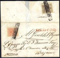 Cover 1850, Raccomandata Da Milano 11.12. Per Bergamo Affrancata Con 15 Cent. Sul Fronte + 30 Cent. Al Verso, Su Lettera - Lombardije-Venetië