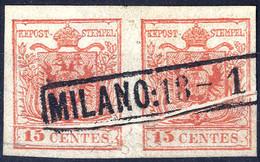 """O 1854, """"Pieghe Di Carta"""", 15 Cent. Rosso, Coppia Con Duplice Piega Su Entrambi Gli Esemplari Con Vistosa Deformazione D - Lombardije-Venetië"""
