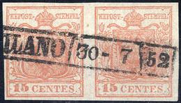 Piece 1850, 15 Cent. Rosa, Coppia Orizzontale Con Due Esemplari Del Primo Sottotipo, Non Comune, Cert. Strakosch (Sass.  - Lombardije-Venetië