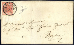 Cover 1850, 15 Cent. Rosso Salmone Intenso Su Lettera Da Sarnico (Sass. 6g - 4P.) - Lombardije-Venetië