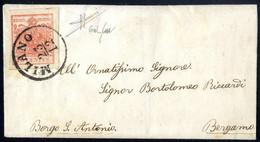 Cover 1850, 15 Cent. Rosso Salmone, Spazio Tipografico In Basso, Su Lettera Da Milano, Cert. Sorani (Sass. 6m - 1650,- / - Lombardije-Venetië