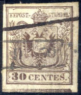 O 1850, 30 Cent. I° Tipo Con Grande Spazio Tipografico In Basso, Usato, Sass. 7k - Lombardije-Venetië