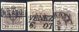 O 1850, 30 Cent. I° Tipo Con Vistose Pieghe Naturali Di Carta, Lotto Di Tre Esemplari Usati, Sass. 7 - Lombardije-Venetië