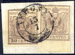 Piece 1850, Frammento Con Due 30 Cent. I° Tipo Di Gradazioni Di Colore Differenti, Sass. 7 - Lombardije-Venetië