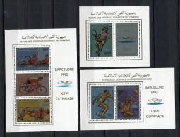 Barcelona 92. Comores 1988. Yvert 464-67 + A 251-52 ( 3 Blocks) ** MNH. - Verano 1992: Barcelona