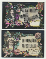Lot De 2 Cartes Fantaisie - - Un Bonjour Et Un Mot Affectueux - Série -  Homme - Enfant - Vrouwen