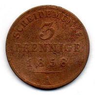GERMAN STATES - SCHAUMBURG-LIPPE, 3 Pfennig, Copper, Year 1858, KM #C39 - Petites Monnaies & Autres Subdivisions