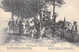 34 - BEAUCAIRE En Prouvenço - Retour Di Vendémi ( Bonne Animation - Attelage ) Jolie CPA Rédigée En Provencal - Hérault - Andere Gemeenten