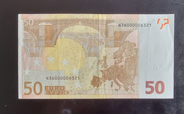 50 Euro Duisenberg F001F3 N36000006321 RRRR Low Number - Niedrige Nummer Circ. Austria - 50 Euro