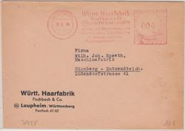 FZ/Württ. - Laupheim 1949 4 Pfg. AFS Württ. Haarfabrik Drucksache N. Nürnberg - French Zone