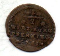 GERMAN STATES - WURZBURG, 1/2 Pfennig, Copper, Year 1751, KM #336 - Petites Monnaies & Autres Subdivisions
