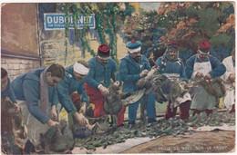 Militaire - Militaria  : Guerre 1914-48 :  Veille De Noël Sur Le Front : Soldats Plumant La Dinde : DUBONNET - Publicité - Guerra 1939-45