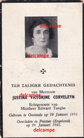 Doodsprentje Justina Corveleyn Oostende 1893 Oorlogsvluchting En Overleden Te Preston Engeland 1942 Tanghe Edward - Imágenes Religiosas
