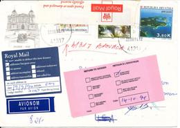 Croatia Cover Sent To USA 22-8-1994 And Returned 19-9-1994 - Croatie