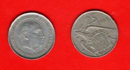 SPAIN, 1957 , 25 Pesetas,  Franco, Copper-Nickel,   C3536 - 25 Peseta