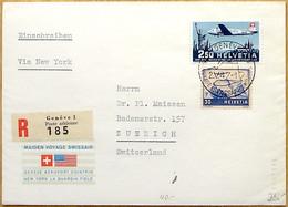 "Schweiz Suisse 1947: PRO AERO ""Genève-New York"" Zu 42 Mi 479 Yv PA41 Halbmond-o Demi-lune GENÈVE 2.V.47 (Zu CHF 40.00) - Covers & Documents"