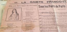 CHANSON SOCIALE  POLITIQUE/ ELLE EST REVENUE LA JOCONDE/ CEST M POINCARE /LA MORTALITE DANS L ARMEE - Partitions Musicales Anciennes