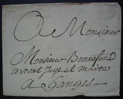 Enveloppe Sans Date Pour Mr Bonnefous Avocat Juge Et Maire à Ganges  Sceau De Cire Rouge à L'arrière - 1701-1800: Precursores XVIII