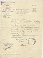 DECLARATION DE VERSEMENT- TRESOR ET POSTES - Documents Of Postal Services