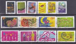 France De 2008 YT 239 à 252 Adhésifs Oblitérés - KlebeBriefmarken