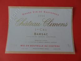 Etiquette Neuve Château Climens 2004 1er Cru Barsac Spécimen - Bordeaux