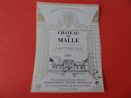 Etiquette Neuve Château De Malle 2003 Grand Cru Classé Sauternes - Bordeaux