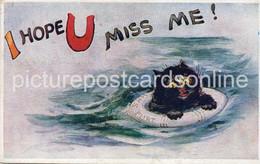 I HOPE U MISS ME OLD COLOUR POSTCARD BLACK CAT IN LIFE RING HMS FLIRT TUCK SERIES 3140 - Gatos