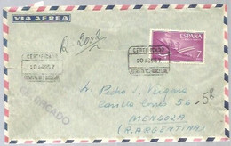 CARTA CERTIFICADA A ARGENTINA 1957  FRANQUEO  7 PTS AVION  POCO FRECUENTE - 1951-60 Covers