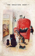 THE CHILDRENS HOUR OLD COLOUR COMIC POSTCARD SEVERAL CATS BY AN OPEN FIRE - Humor