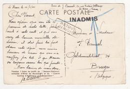 Au Plus Rapide WW2 Marcophilie Affranchissement Pétain Le Havre Pour Bruges Inadmis Et Retour à L'envoyeur - WW II
