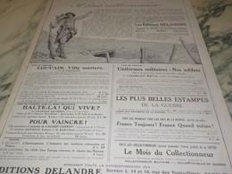 ANCIENNE PUBLICITE IL FAUT COLLECTIONNER EDITIONS DELANDRE 1916 - 1914-18