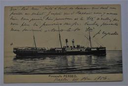 "CPA Piroscafo ""Perseo"" / Timbro Napoli 1906 - Bateau à Vapeur - Autres"