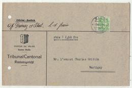 Suisse // 1940-1949 // Lettre Pour Martigny Au Départ De Sion Le 7.06.1947 - Covers & Documents