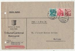 Suisse // 1940-1949 // Lettre Pour Martigny Au Départ De Sion Le 5.12.1947 - Covers & Documents
