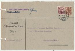 Suisse // 1940-1949 // Lettre Pour Martigny Au Départ De Sion Le 23.03.1942 - Covers & Documents