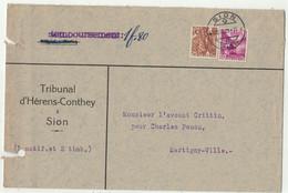 Suisse // 1940-1949 // Lettre Pour Martigny Au Départ De Sion Le 25.11.1939 - Covers & Documents