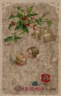 Illustrée Gaufrée Dorée : Deux Anges, Cloches Et Houx Sur Fond Marbré - Angels